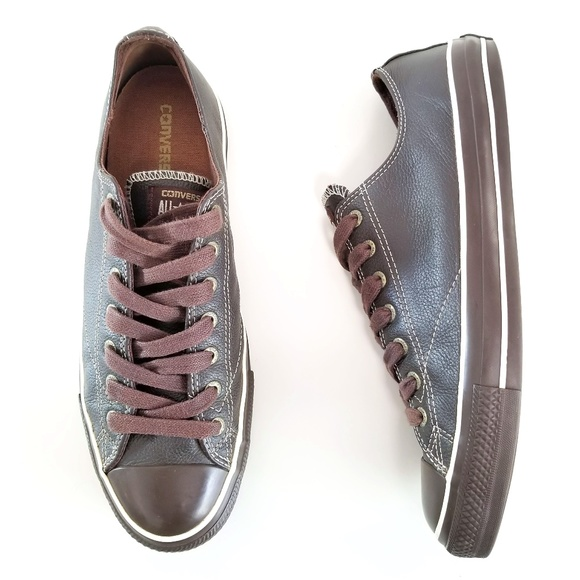 Converse All Star Sneakers Brown Leather Low Tops